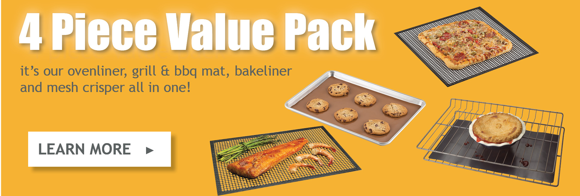 Chef\'s Planet 4 Piece Value Pack Ovenliner Bakeliner Grill BBQ Mat Mesh Crisper